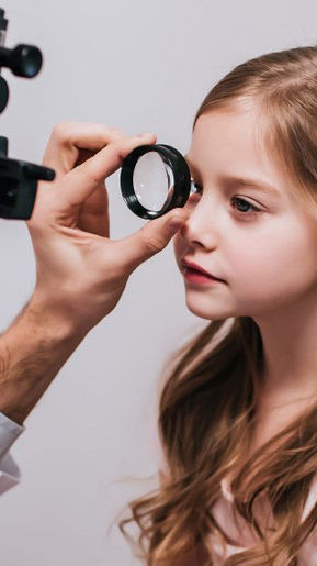 Girl being examined
